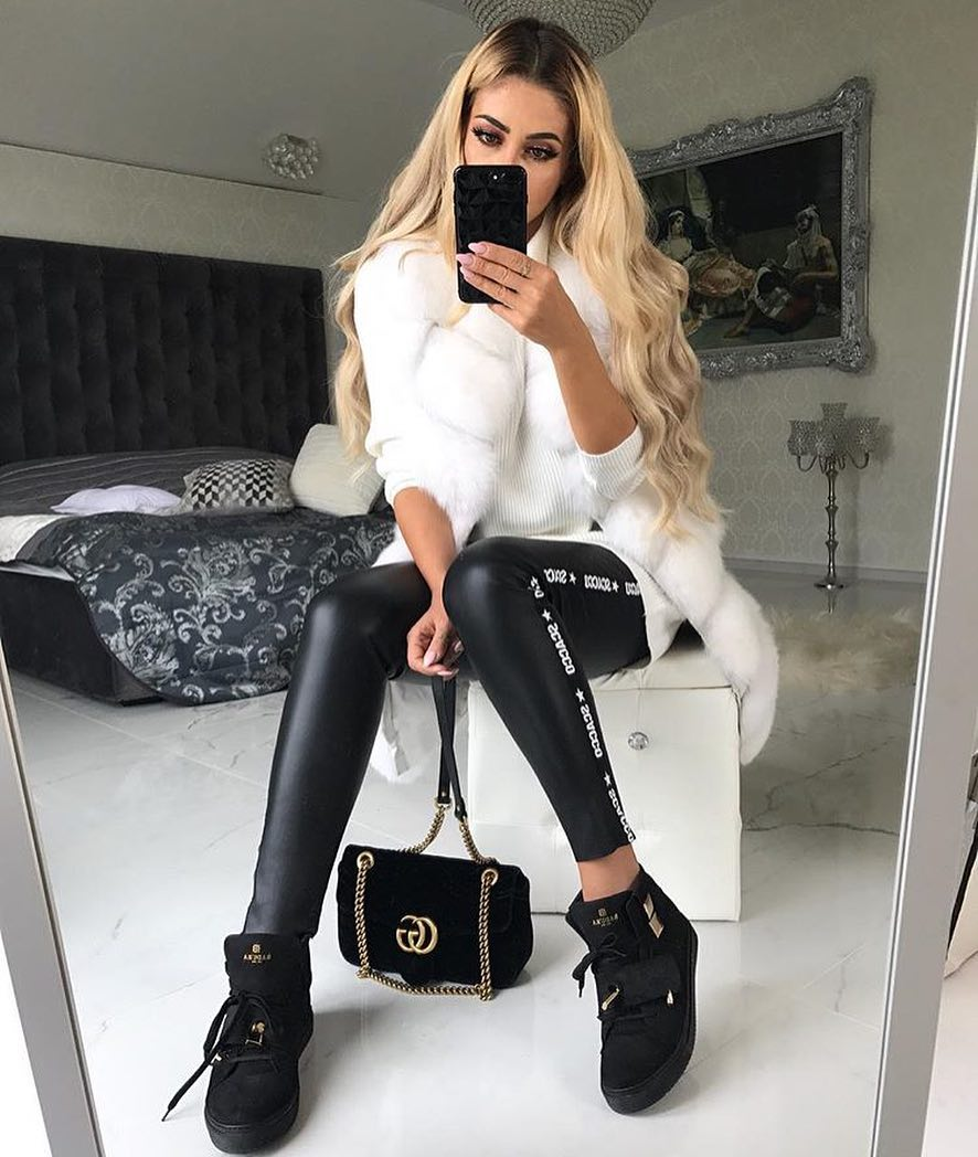 Monochrome Spring Basics: White Sweater Dress And Black Leather Skinnies 2020
