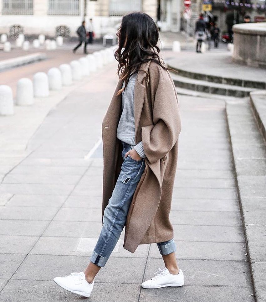 How To Style Oversized Beige Grey Wool Coat This Fall 2019
