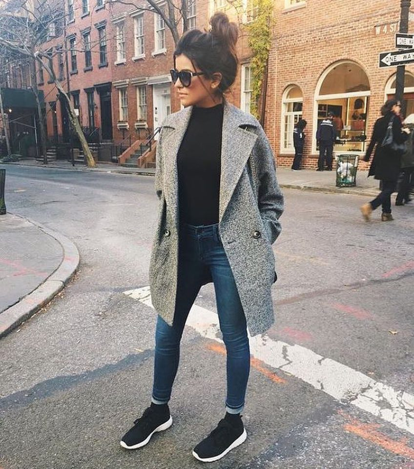 Smart-Casual Basics: Grey Wool Coat, Black Sweater, Blue Jeans And Black Kicks 2020