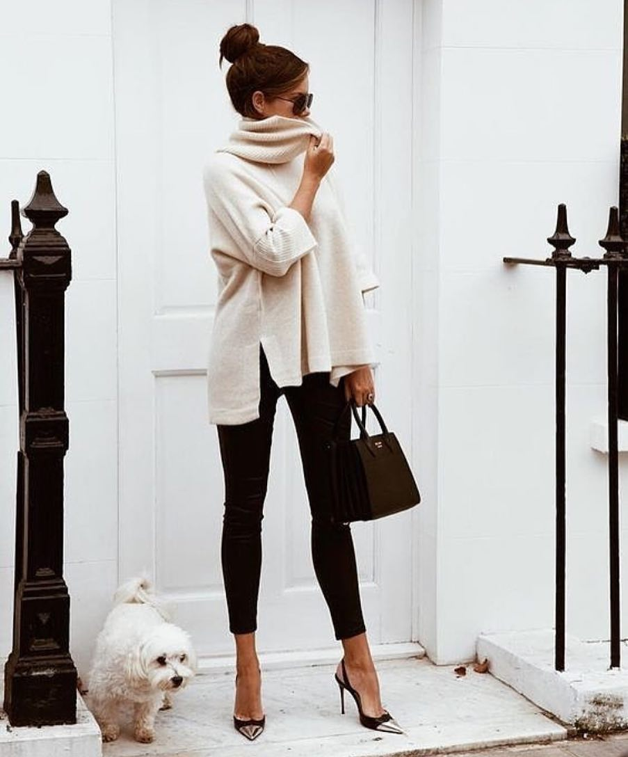 Slouchy Neck Sweater In White And Black Skinny Pants For Spring 2019