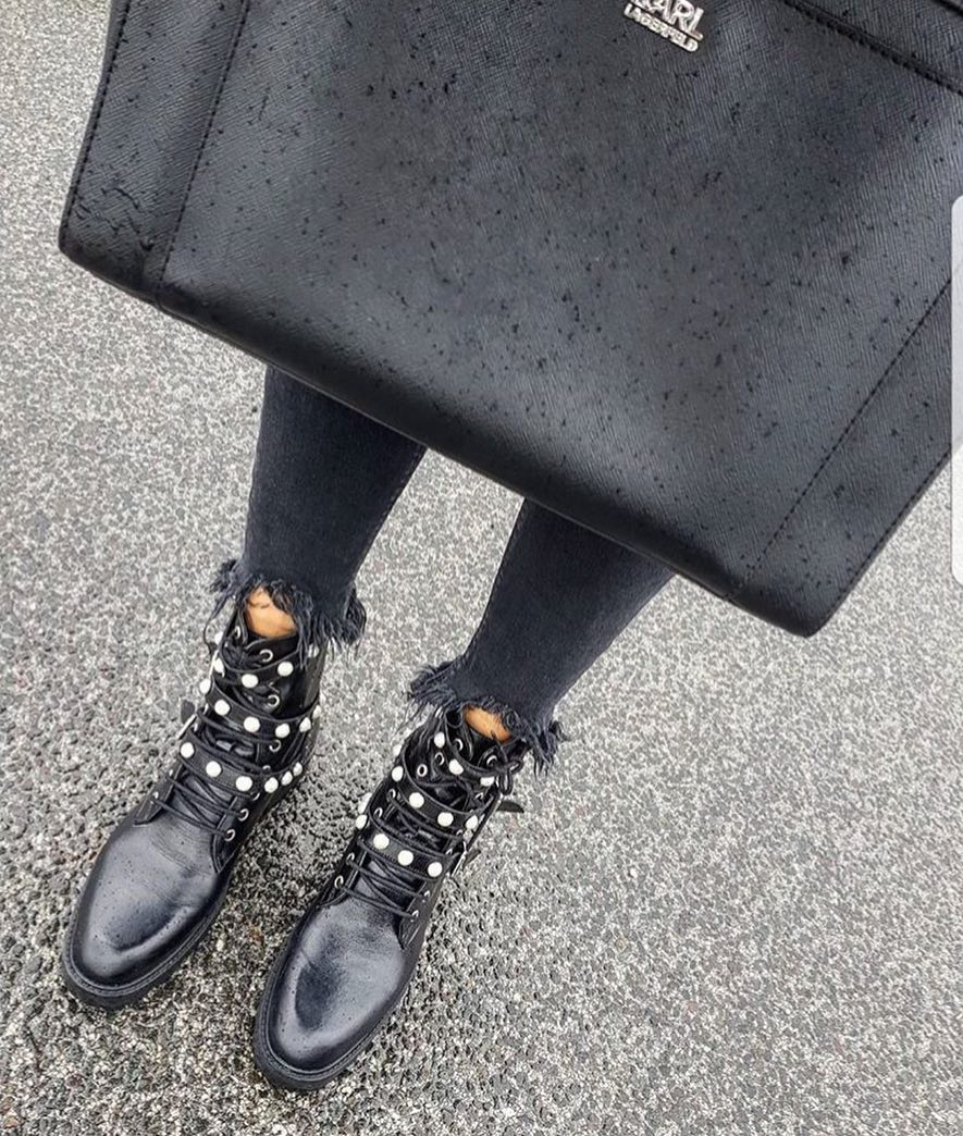 Black Leather Buckled Ankle Boots With Pearls And Frayed Skinny Jeans 2021