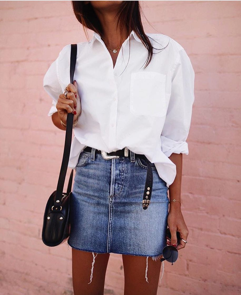 White Shirt And Blue Denim Skirt For Summer Weekends 2019
