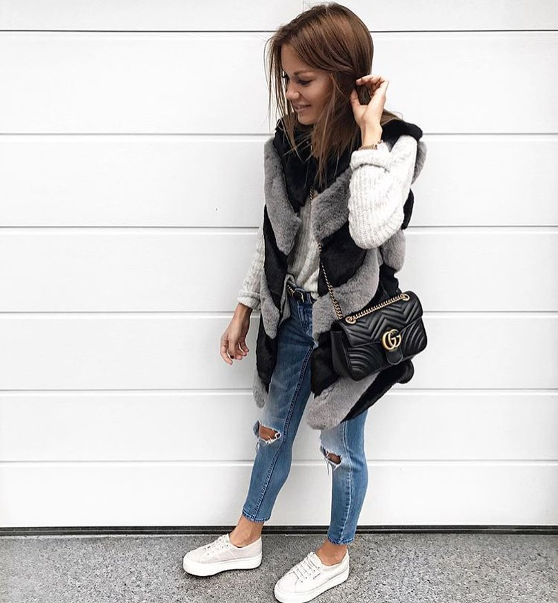 How To Wear Grey-Black Fur Vest This Spring 2019