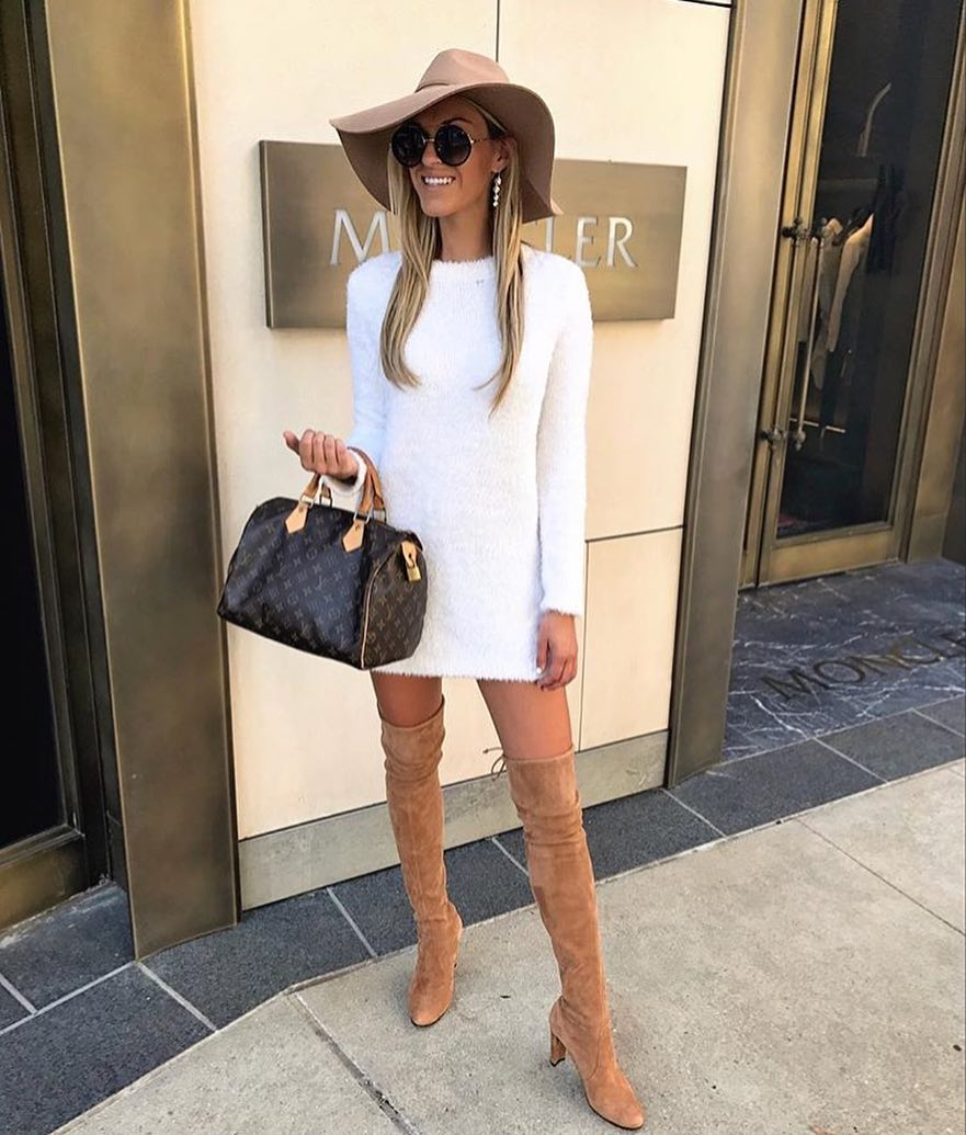 White Sweater Dress And Camel Suede OTK Boots For Spring 2020
