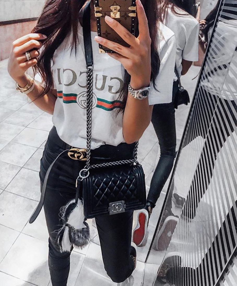 How To Wear White Gucci Tee With Black Leather Skinnies And High Top Kicks 2021