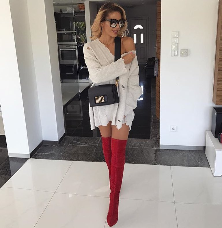 Ripped Grey-White Sweater Dress And Red Suede OTK Boots 2019