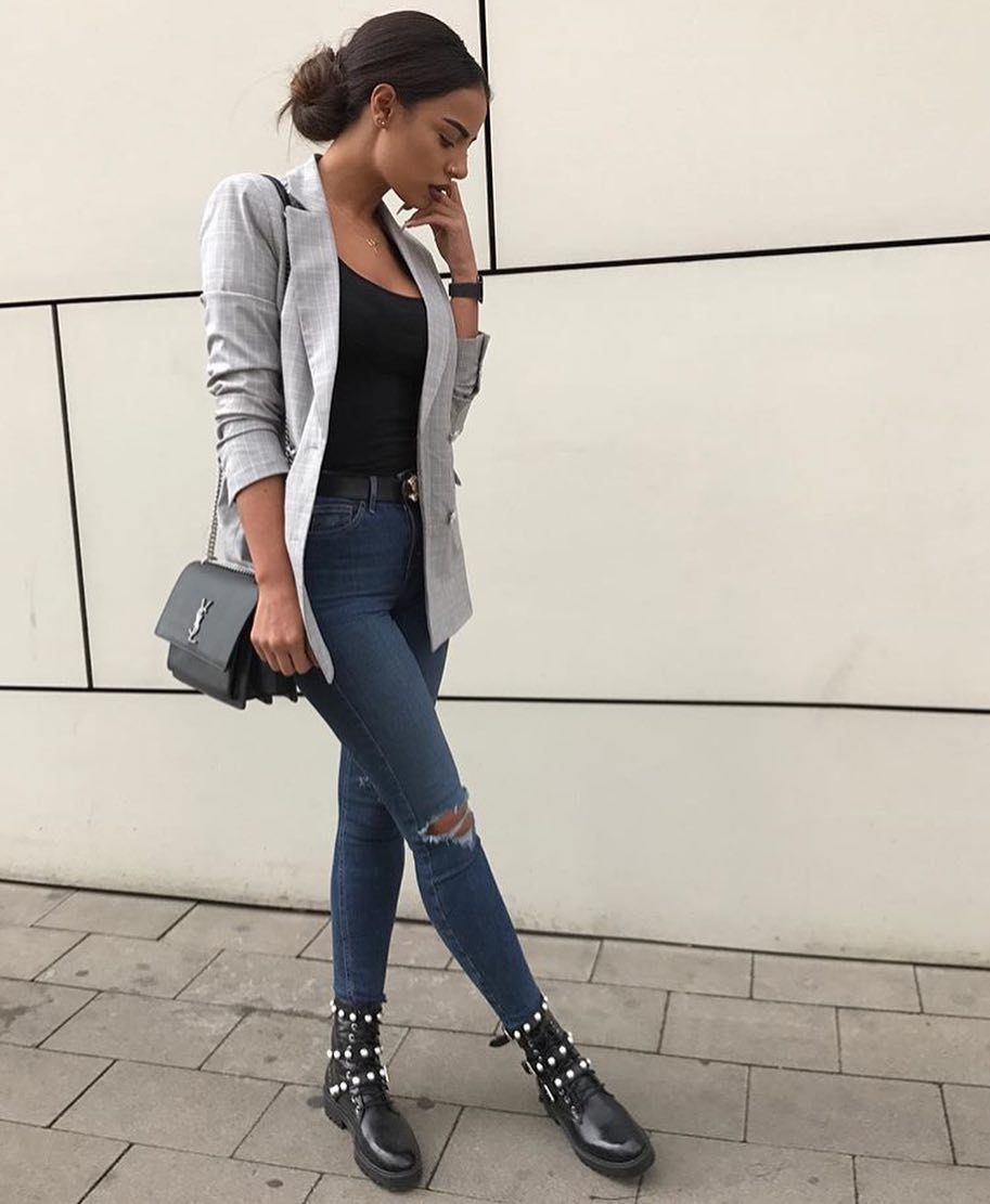 Spring Essentials: Plaid Grey Blazer, Knee-Ripped Skinnies And Black Military Boots 2019