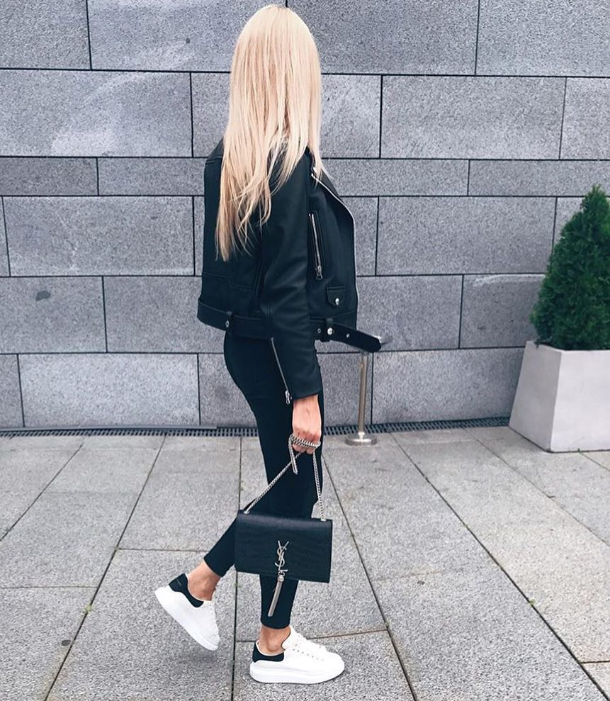 All Black Biker Style Outfit And White Sneakers For Spring 2019