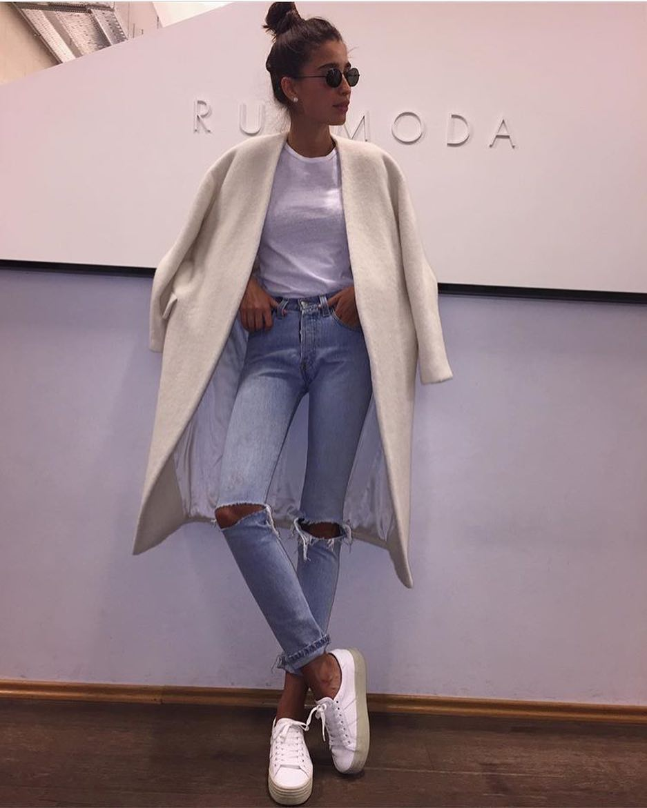 How To Wear Collarless Wool Coat In White This Spring 2019
