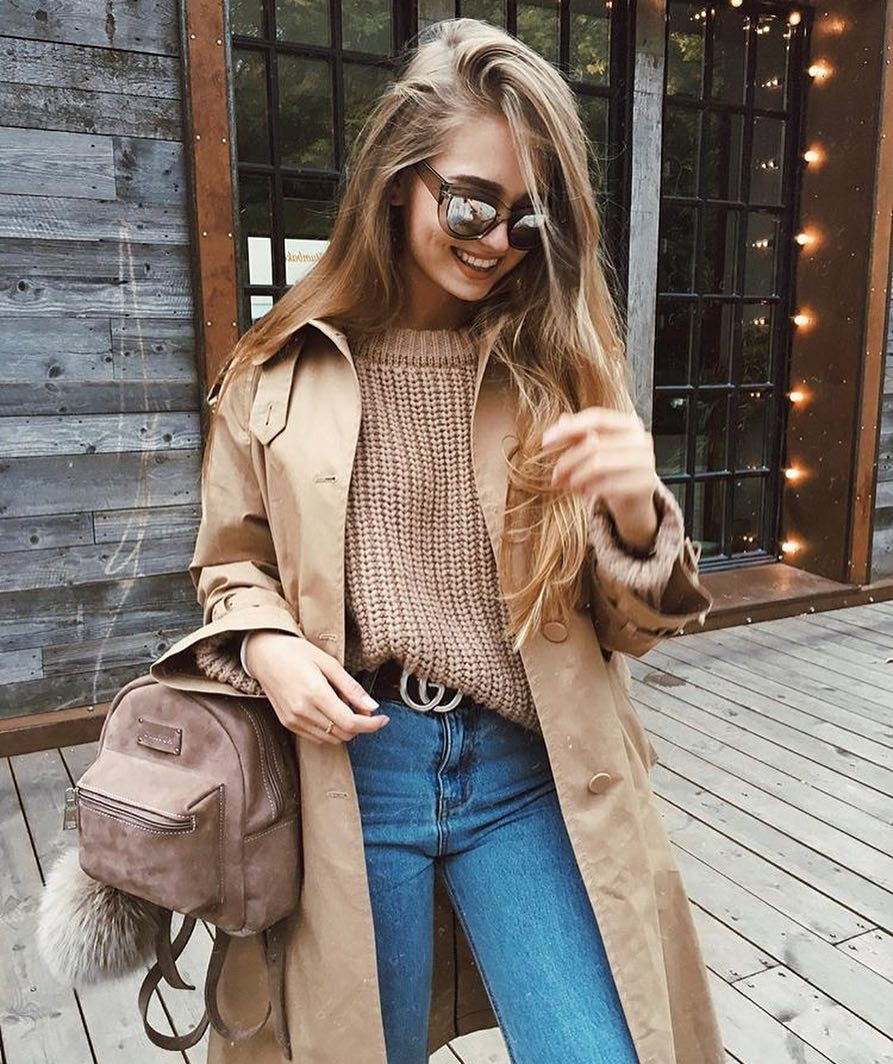 How To Wear Camel Coat And Camel Sweater With Jeans This Spring 2020