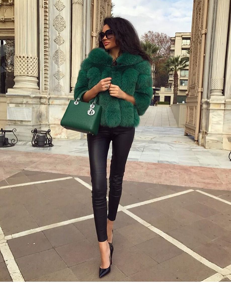 How To Wear Green Fur Jacket This Spring 2019