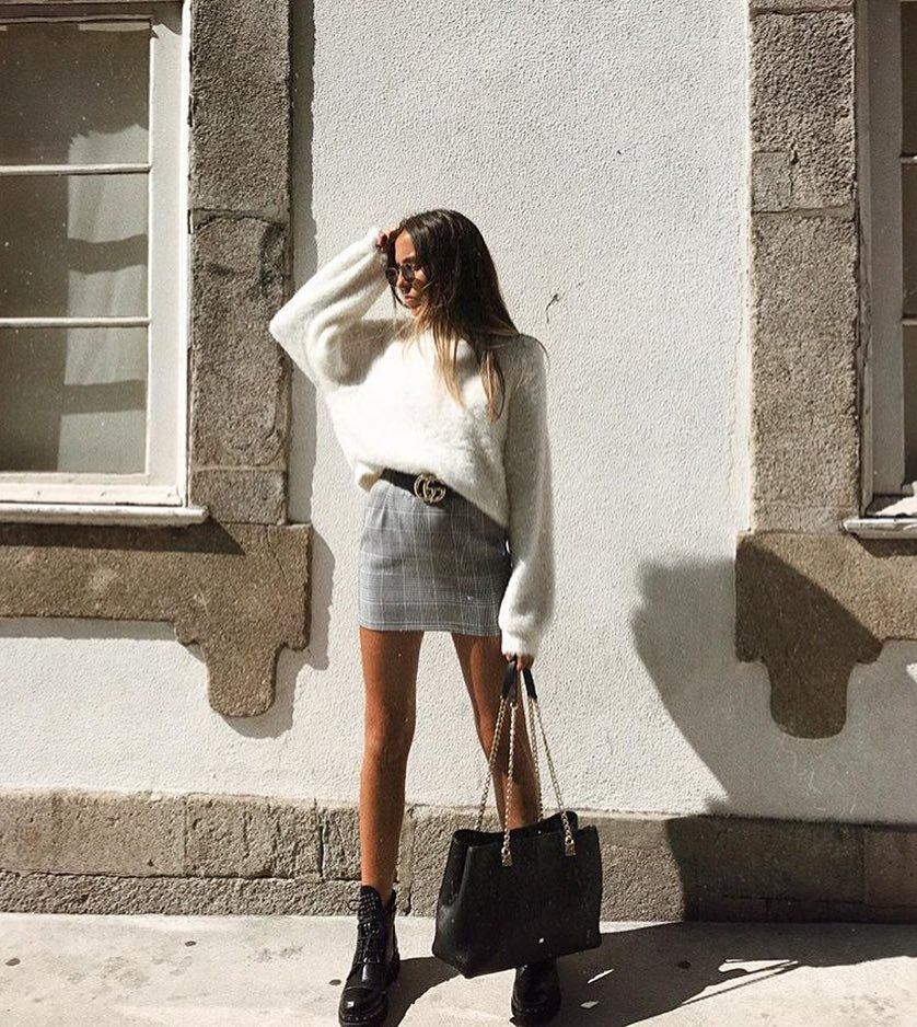 Slouchy Sweater In White And Plaid Grey Mini Skirt With Chunky Boots 2019