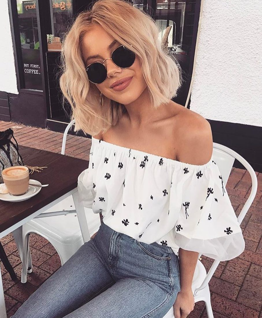 Off Shoulder Ruffle White Blouse And Wash Skinny Jeans For Summer 2020