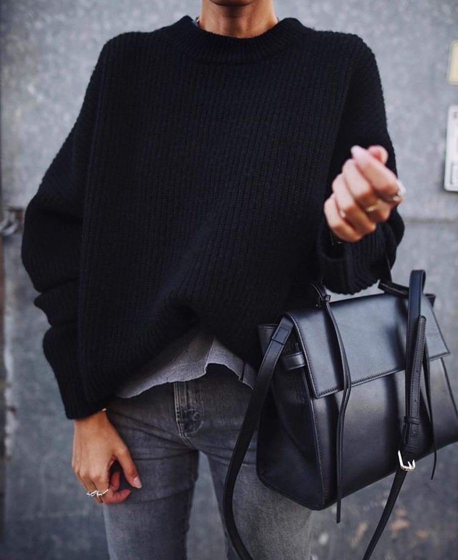 9d0dd73f48 Monochrome Casual Outfit For Spring  Black Sweater And Grey Jeans 2019