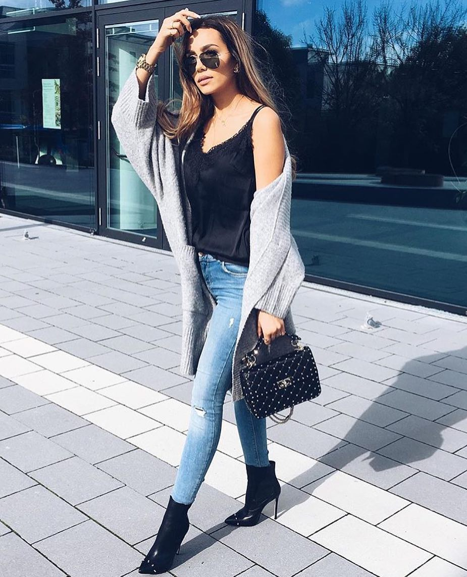 Light Grey Cardigan With Lace Black Slip Top And Blue Skinny Jeans For Spring 2020