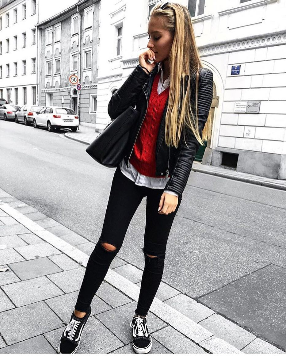 Smart-Casual Must-Haves: Black Leather Jacket, Red Sweater And Knee-Ripped Skinnies 2019