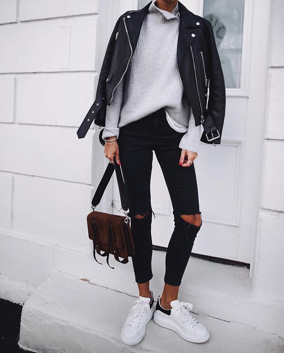 Black Leather Biker Jacket With Black Skinnies And White Sneakers 2020