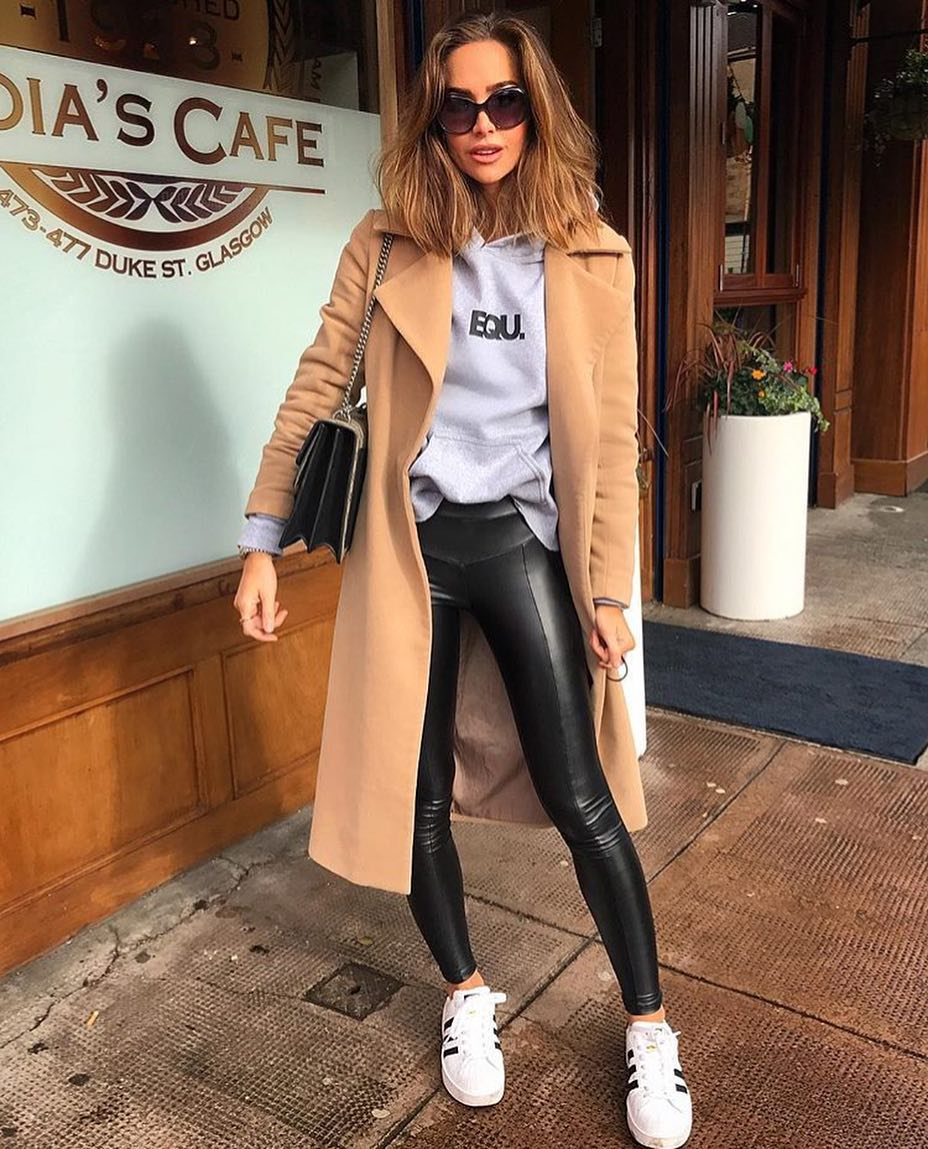 Camel Coat With Grey Hoodie, Black Leather Pants And White Sneakers 2020