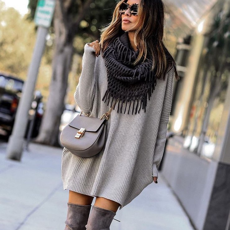 Can You Wear Grey Sweater Dress With Grey OTK Boots This Fall 2020