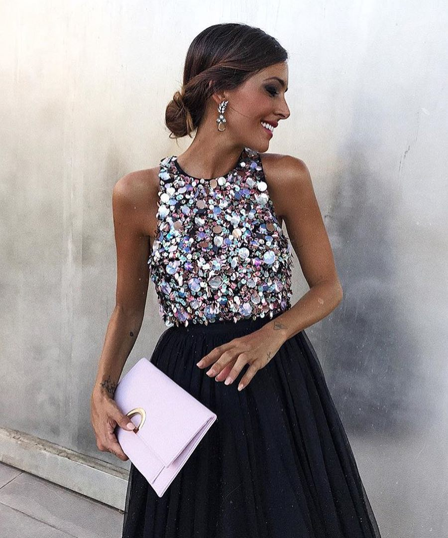 Summer Maxi Dress: Sleeveless Sequined Top And Maxi Tulle Skirt In Black 2020
