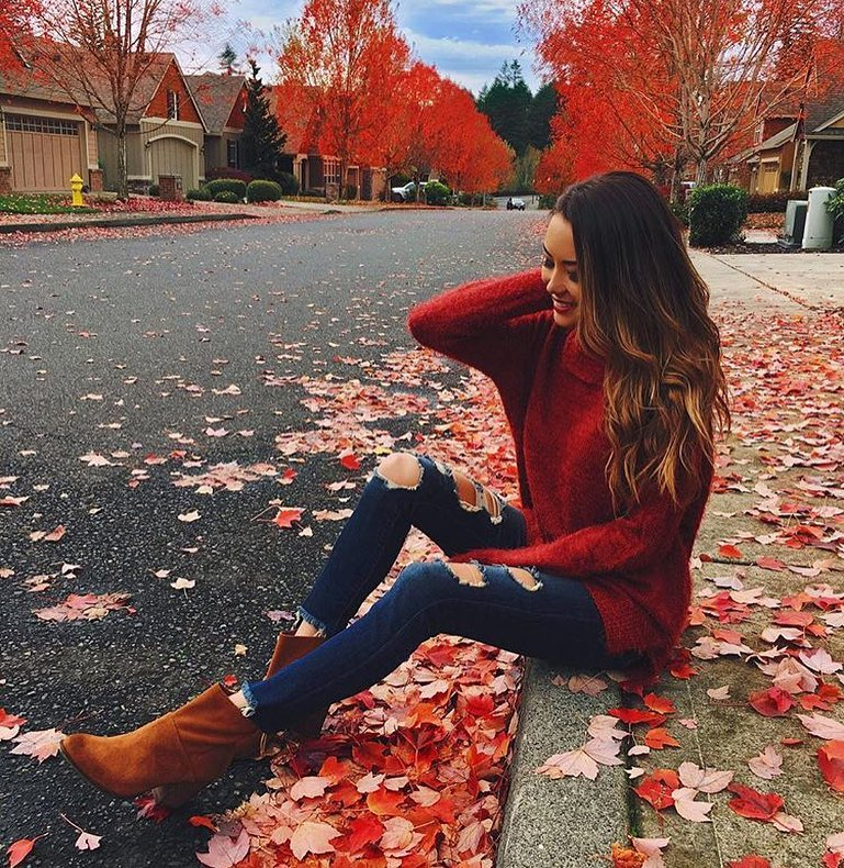 Cherry Red Sweater, Indigo Jeans And Suede Boots: Fall Season Essentials 2019