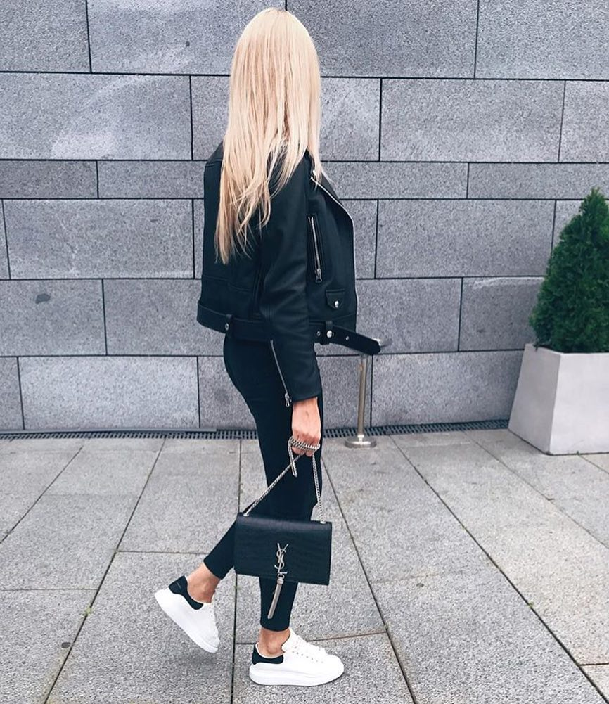 Update Your All Black Outfit With White Sneakers This Fall 2019
