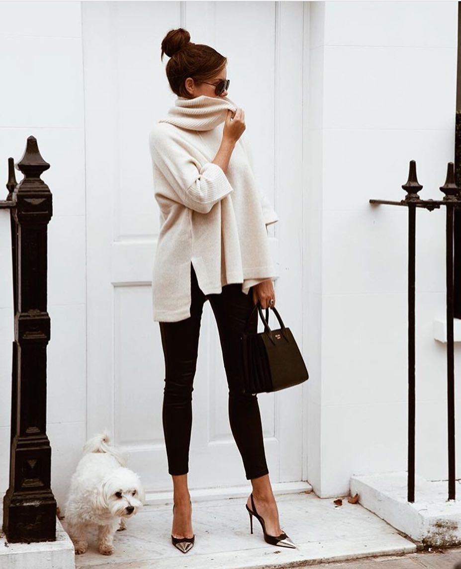 Monochrome Essentials: Cream White Sweater And Black Skinny Pants 2020