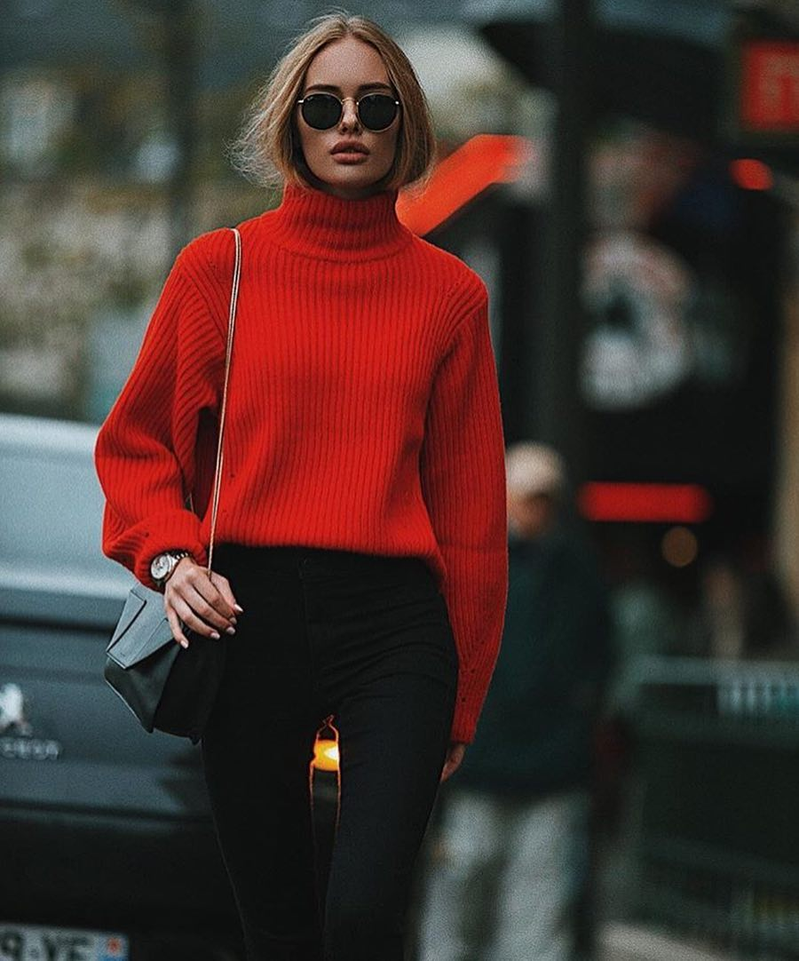 High Neck Sweater In Red With Black Skinny Jeans For Fall 2019