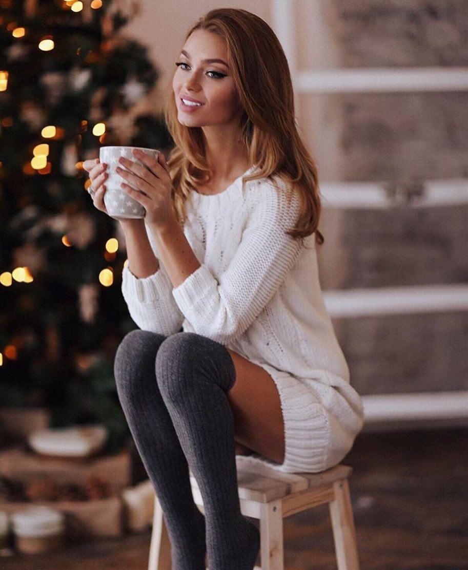 White Sweater Dress And Grey OTK Socks For Fall 2021