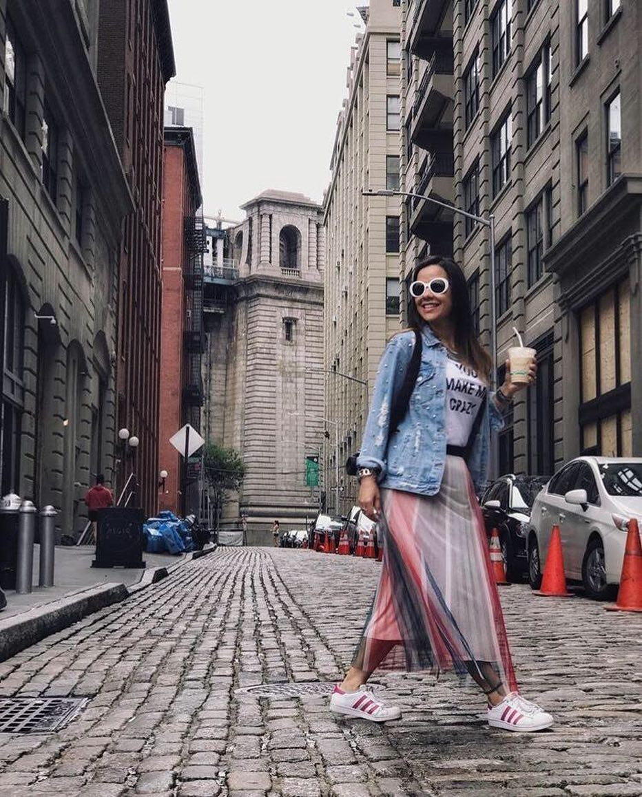 A Perfect Look For Old Town Walks: Kicks, Maxi Skirt, Tee, And Denim Jacket 2019