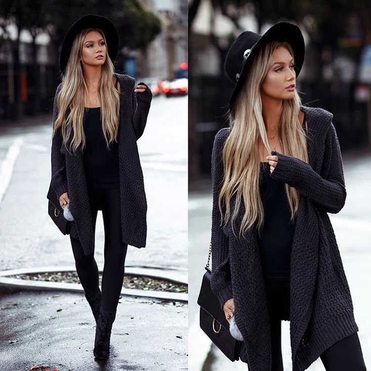 Draped Charcoal Cardigan Over All Black Fall Outfit 2020