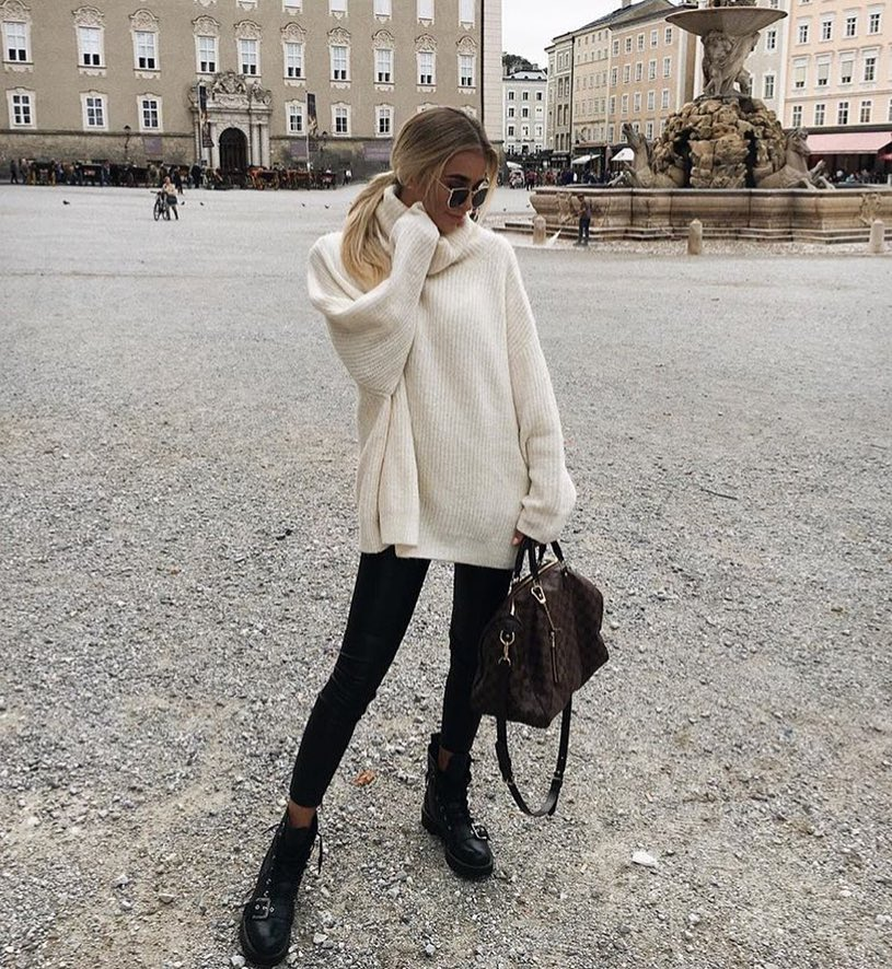Slouchy Sweater Dress In White With Black Leather Pants And