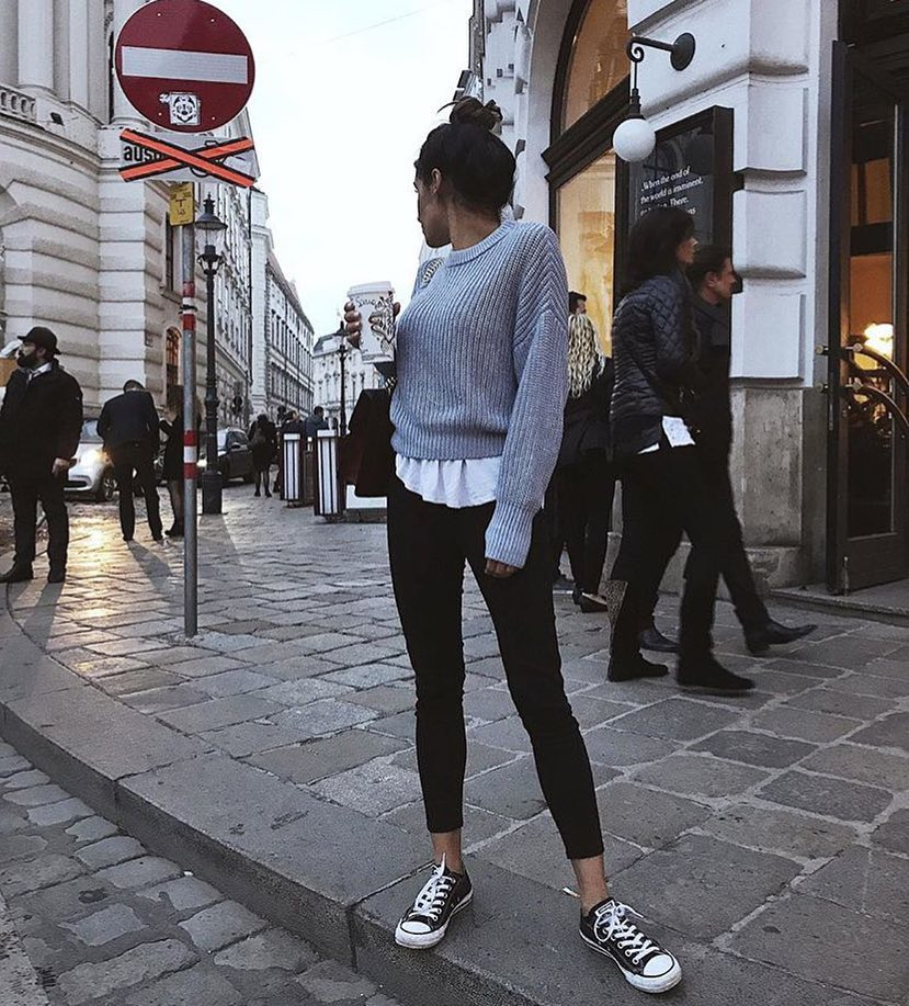 Layered Look For Casual Walks: Sweater Over Tee With Black Jeans And Trainers 2020