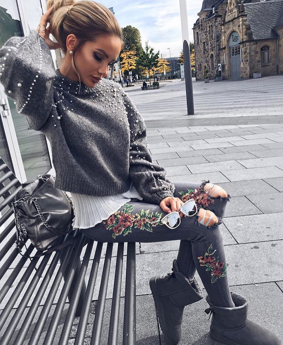 Grey Sweater With Pearls And Floral Embroidered Grey Jeans 2020