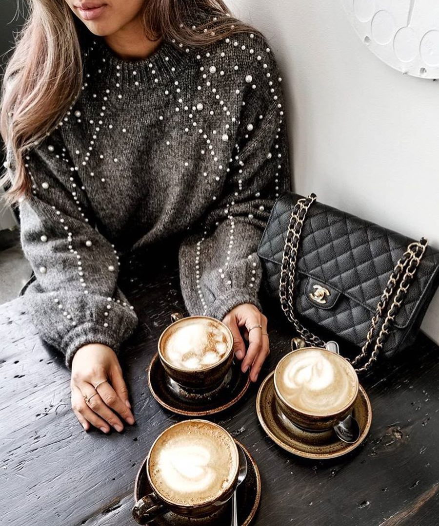 Oversized Grey Sweater Embellished With White Pearls For Coffee Time 2019