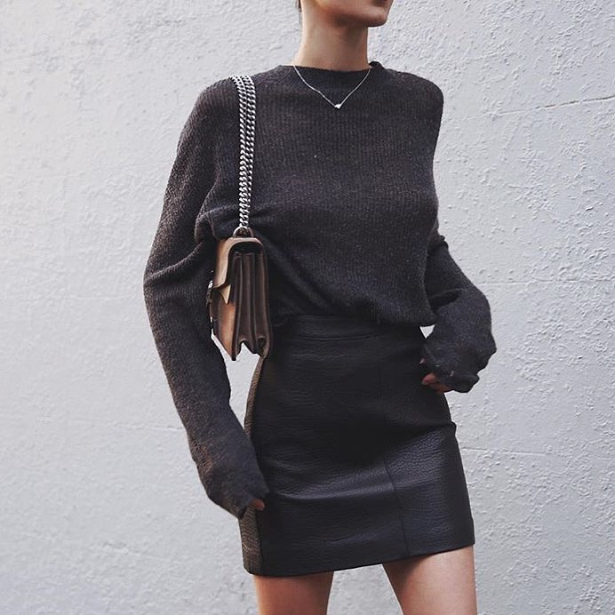 Monochrome Essentials: Dark Grey Sweater And Black Leather Skirt 2019
