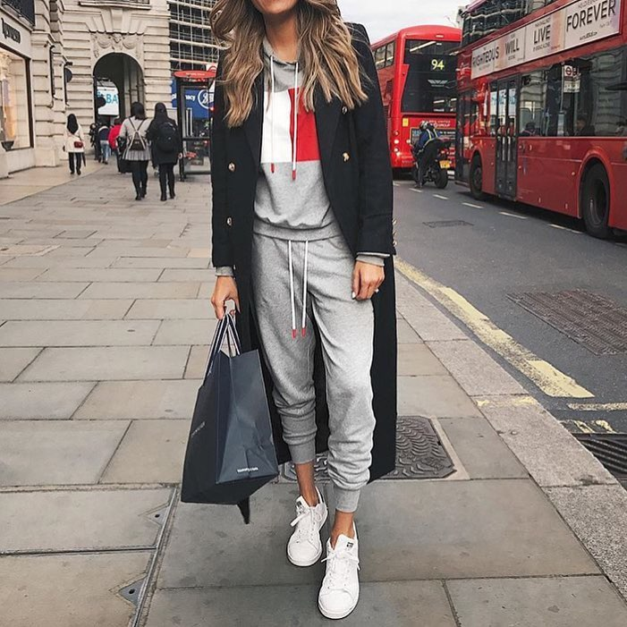 London Outfit Idea: Can I Wear Black Coat Over Grey Jogger Suit 2019