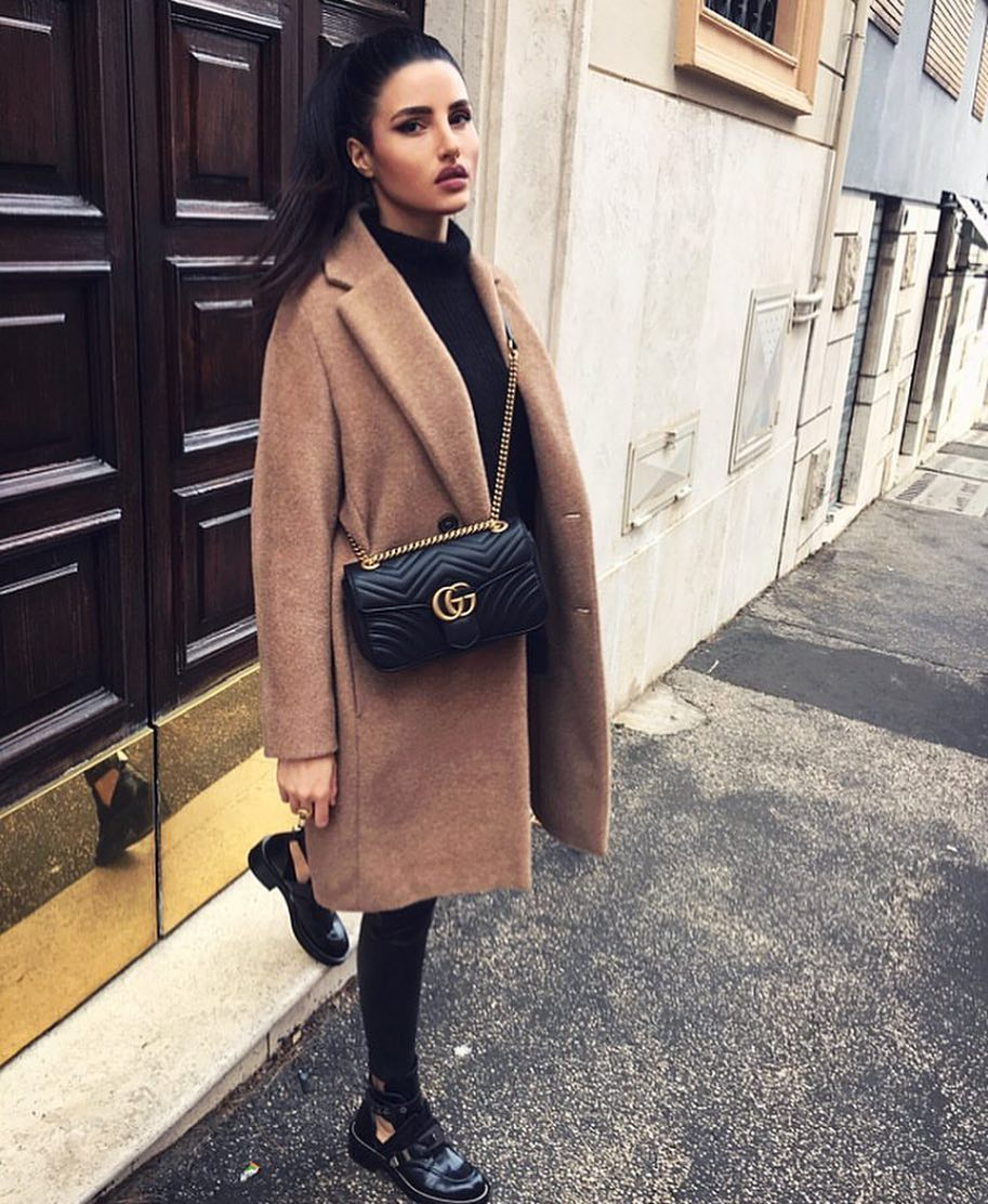 Dark Camel Coat With All Black Outfit And Cut-Out Boots For Fall 2019