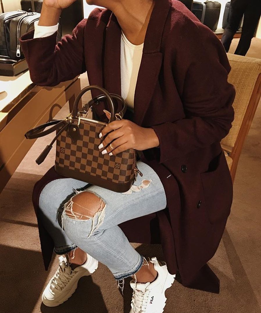 Dark Maroon Wool Coat And Ripped Jeans With White Ugly Sneakers For Fall 2020