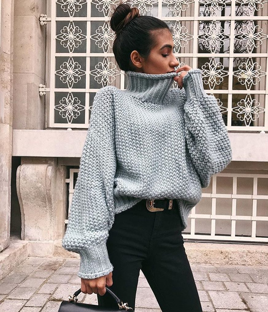 High Neck Oversized Sweater In Grey For Fall 2020
