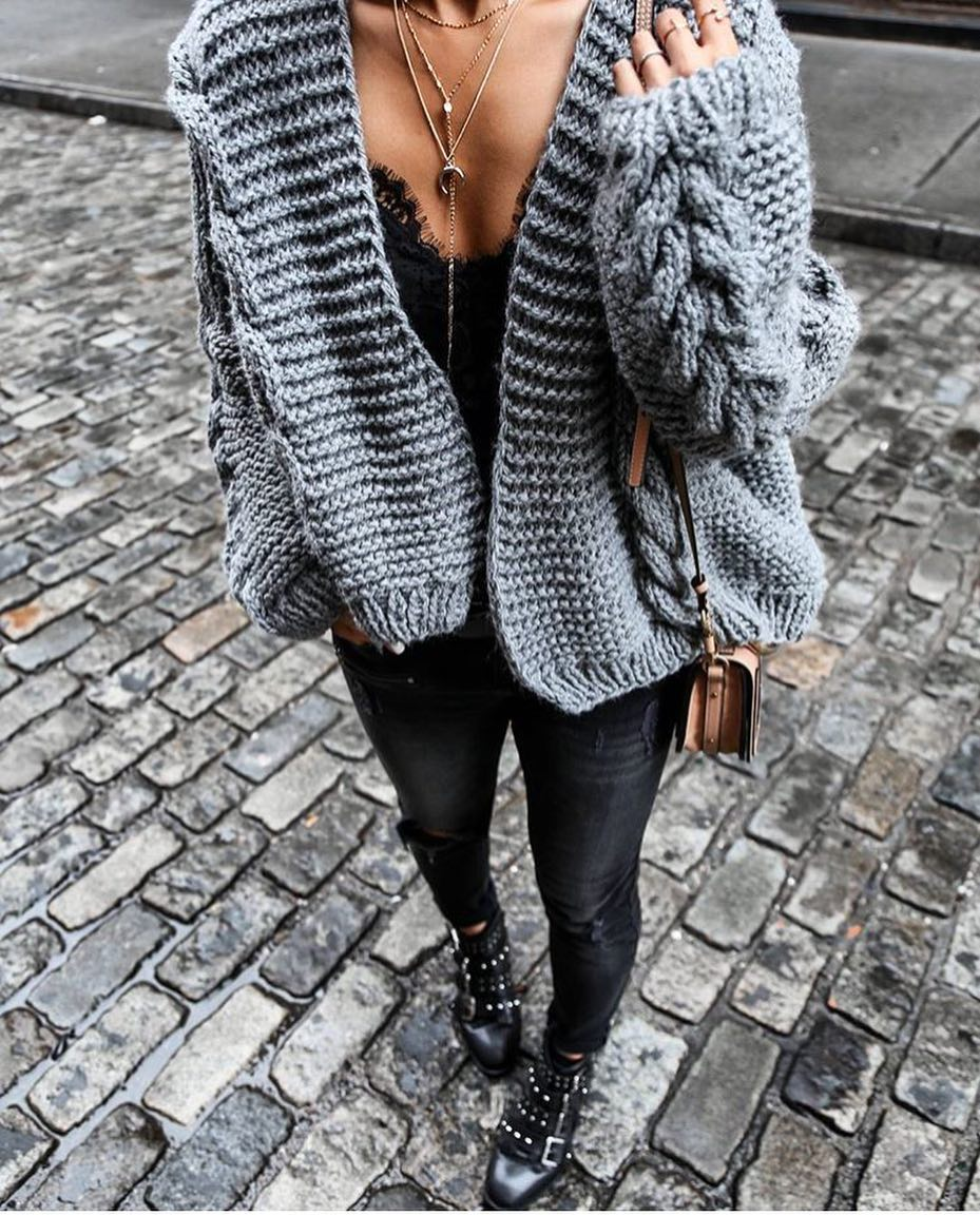 Bulky Chunky Knit Cardigan For Modern Grunge Ladies 2020