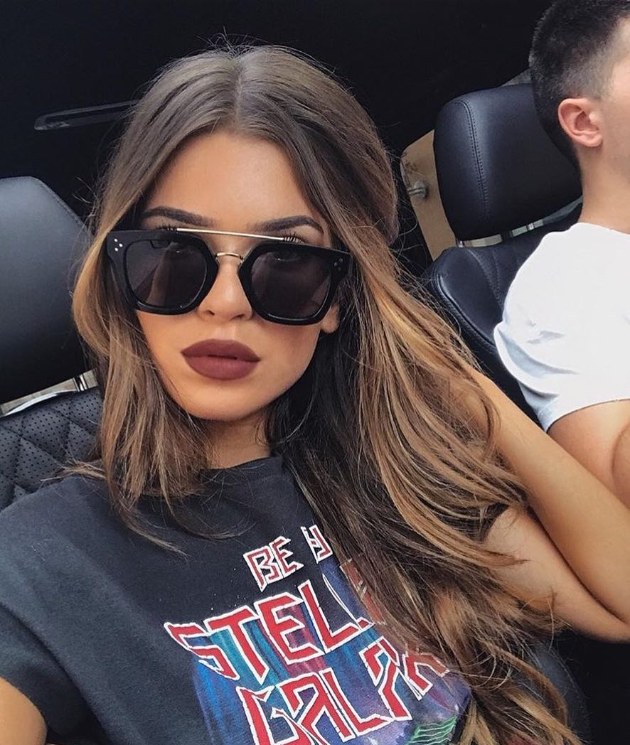 Oversized Black Sunglasses With Metallic Brow For Summer Vacation 2021