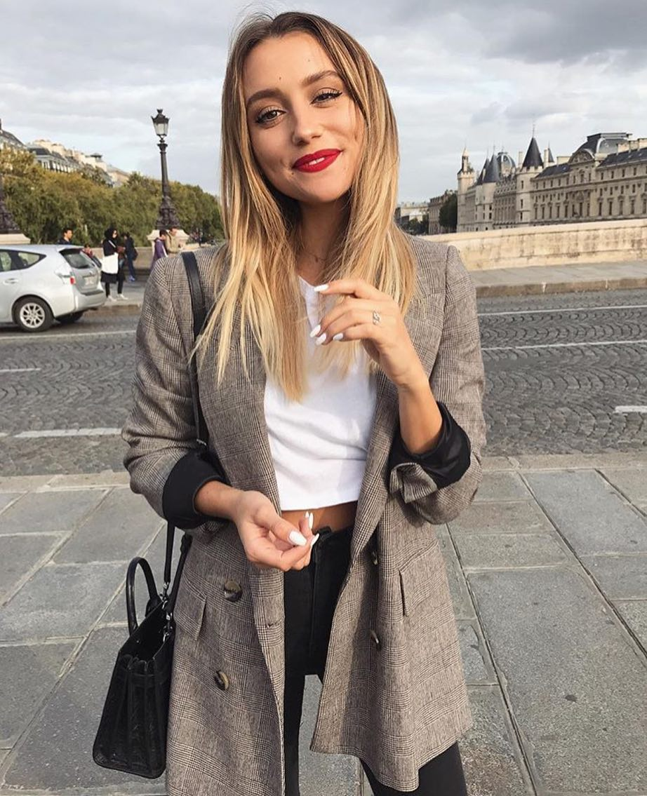 Plaid Grey Blazer With Crop Top And Black Jeans For Fall In Paris 2019