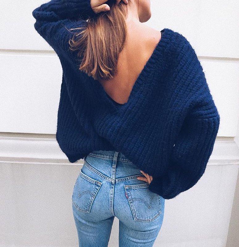 V Back Oversized Sweater For Fall 2020