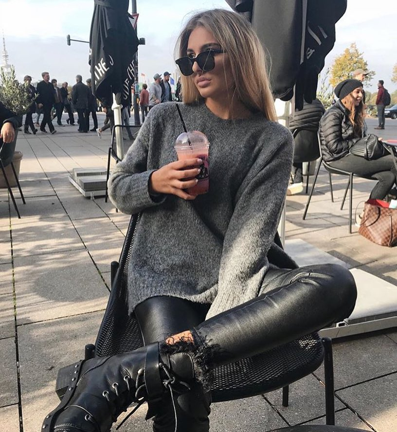 Fall Grunge Essentials: Grey Sweater With Black Leather Pants And Combat Boots 2020