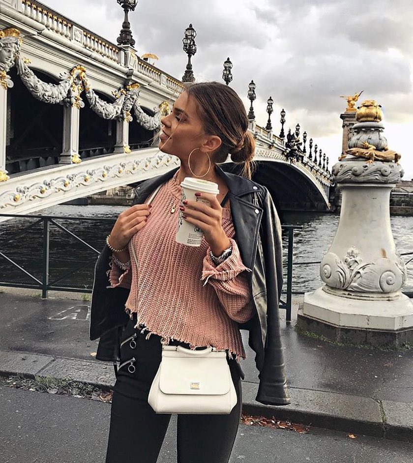 Black Leather Jacket And Pink Sweater For Street Walks 2019