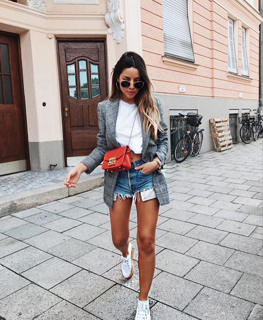 Plaid Grey Blazer And Denim Cut-Offs For Early Fall 2020