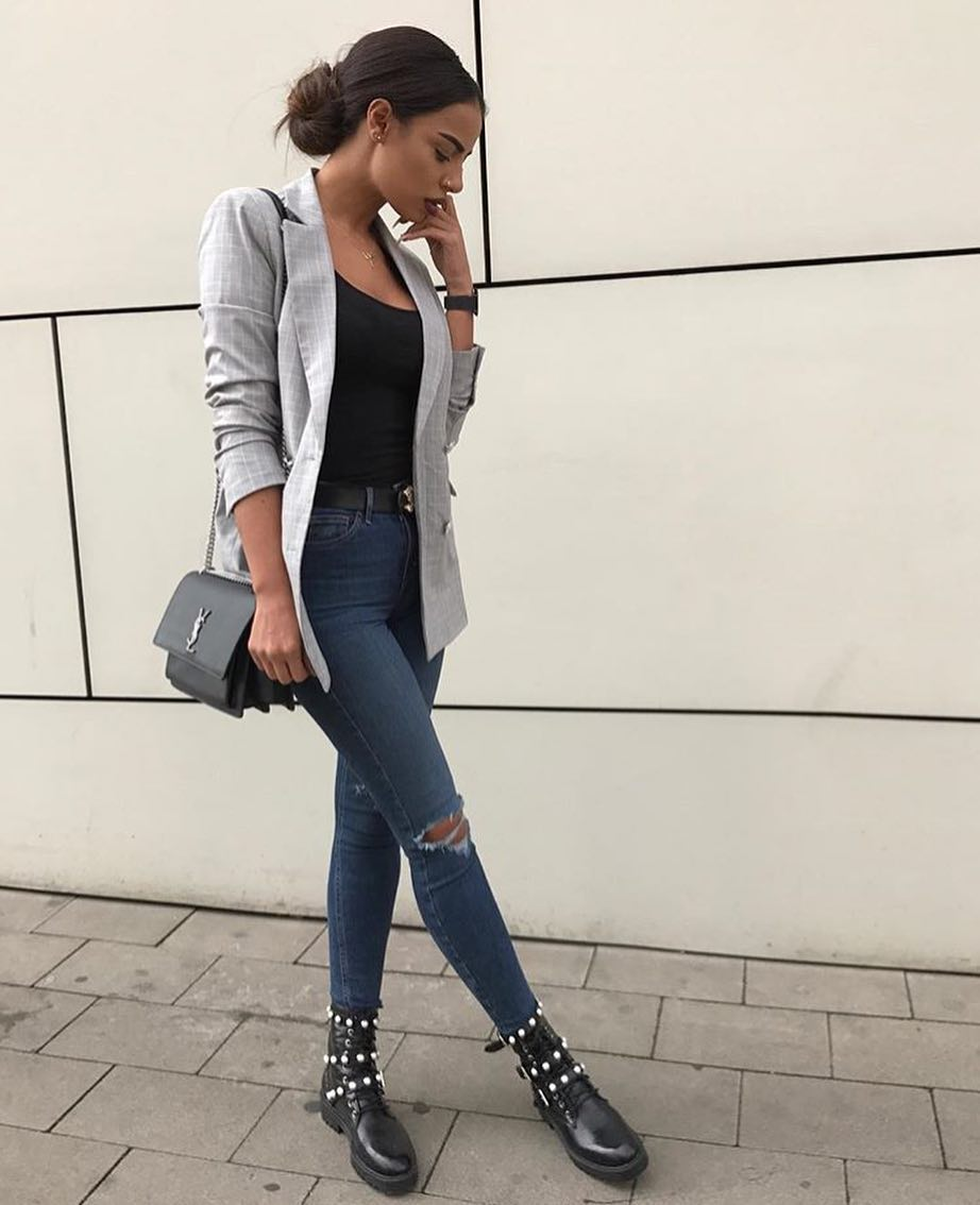 Friday Office Style: Grey Blazer And Ripped Skinnies With Leather Boots 2021