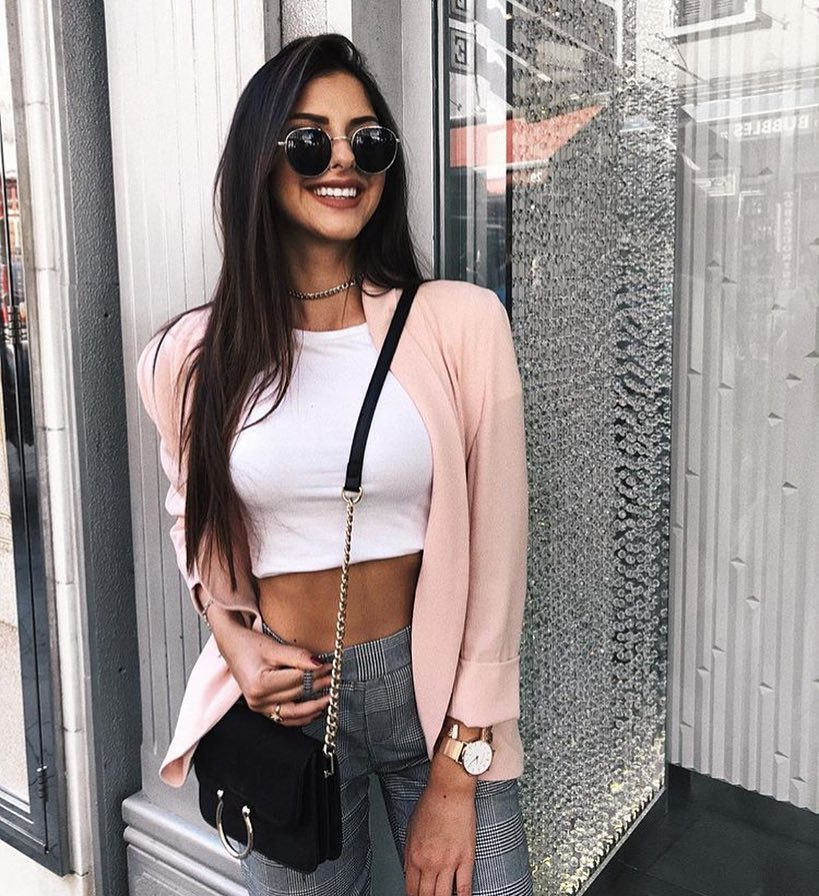 Blush Cardigan With White Crop Top For Fall 2021