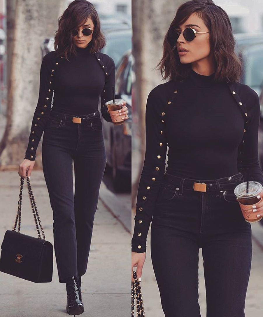 All Black OOTD For Fall: Black Long Sleeve Top, Black Jeans And Boots 2019